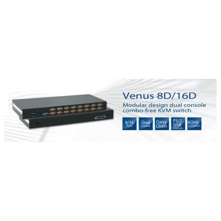 1U KVM prepínač Venus 8D, 8xKVM port DB15, VGA, PS/2+USB, KVM Dock port