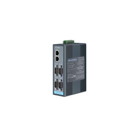 Prevodník priemyselný ModbusTCP/RTU/ASCI EKI-1224 4xRS232/422/485 DB9M 2xLAN RJ45 na DIN lištu -10 ~ 60°C
