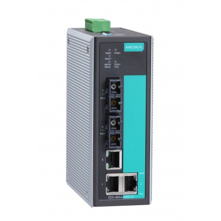 Switch EDS-405A-SS-SC, 3x10/100BaseTx a 2xsinglemode 100Fx SC 40km, základný manažment, Turbo Ring, VLAN