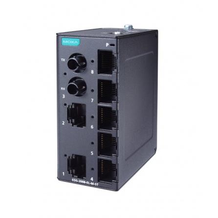 Switch EDS-2008-EL-M-ST-T, 7x10/100Tx, 1xMM ST Port, QoS,DIN,krytie IP40,kovové prevedenie Nemanažovatelný, od -40 do 75°C,