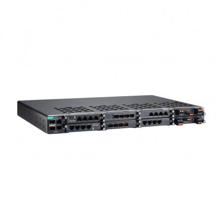 L2 Switch MOXA PowerTrans PT-G7728, 2xGbit SFP, 2xGbit Eth, 6 slotov pre moduly LM-7000H, 2 sloty pre PWR moduly, max. 28G portov, IEC 61850-3, od -40°C do 85°C