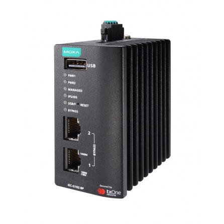 Priemyselný IPS systém MOXA IEC-G102-BP-SA, 2x10/100/1000BaseT(X), -10~60°C