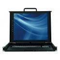 "17"" KVM konzola KDR-11701-USB, 1U dual-rail, SXGA LCD panel, klávesnica, touchpad  USB+PS/2, VGA, čierna"