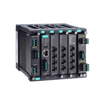 Modulárny switch MDS-G4012-T, L3 manažovateľný, 4xGbit Eth, 2 sloty pre moduly LM-7000H  2 sloty pre PWR moduly, max.12Eth portov, DI, 3x alarm relé, -40~75°C