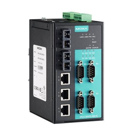 Combo sériový server/switch NPort S8455I-MM-SC 4xRS232/422/485 izol. DB9M, 3x10/100Tx RJ45 2x multimode SC, manažment L2