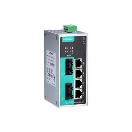 Switch EDS-P206A-4PoE-MM-ST, 4x10/100Tx RJ45 z toho 4 porty s podporou PoE, 2x multimode 100Fx ST, IP30, nemanažovateľný