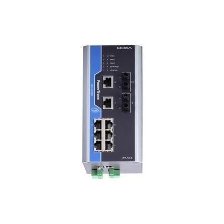 Switch PowerTrans PT-510-MM-ST-HV na DIN lištu, IEC 61850-3, IEEE1613, 8x 10/100Tx RJ45, 2